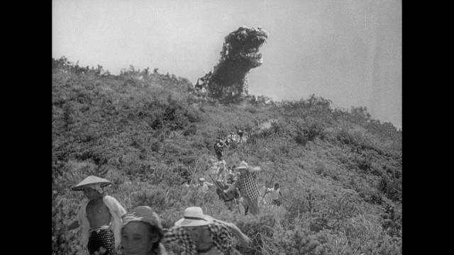 Rising above the mountain, the reveal of Godzilla is not only a stunning effect, but a moment of real horror.