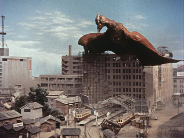 I don't care that you can see the wires, I don't care that the suit is kind of shabby: Rodan is the coolest kaiju, and this is its moment of glory.